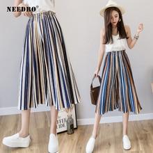 NEEDBO Women Trouser Plus Size Wide Leg Pants Female High Waist Pleated Chiffon Stretch Boho OL Pantalon Femme