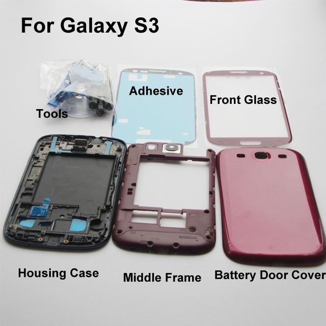 Mobile phone Replacement Parts For Samsung Galaxy S3 i9300 Red Full Housing case chassis & Outer Screen Glass & Tools & Adhesive