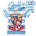 2016 Cabritos Del Verano Camiseta Del Muchacho Impresión de Patrón de perro de Dibujos Animados Manga Corta Rayas Shortsleeved T-shirt Ropa de Bebé Boy Camisetas