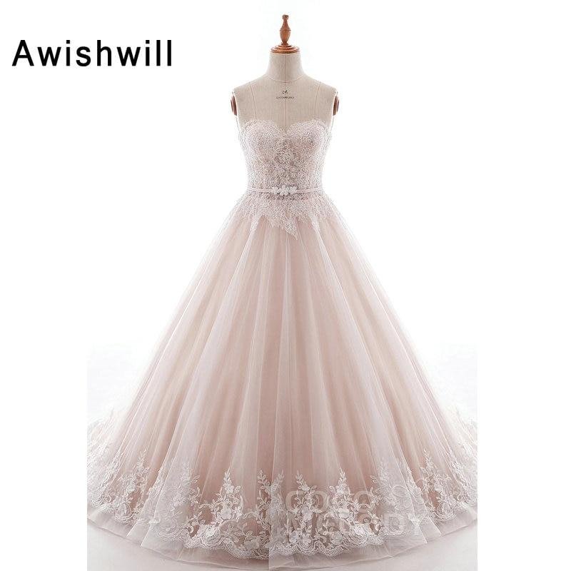 Vestidos De Novia Real Photos Wedding Dresses Ball Gown Lace Appliques Court Train Plus Size Bridal Gowns Custom Plus Size