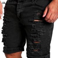 Plus Size XXL Men Capri Pants Robin Distressed Straight Biker Ripped Pants Middle Waist Frayed Tactical