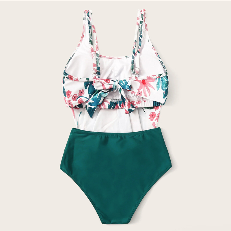 Romwe Sport Bikinis Set Exaggerated Ruffle Ruched Tropical Floaty Top With Ruched Two-Pieces Suits Women Summer Beach Swimwear 6