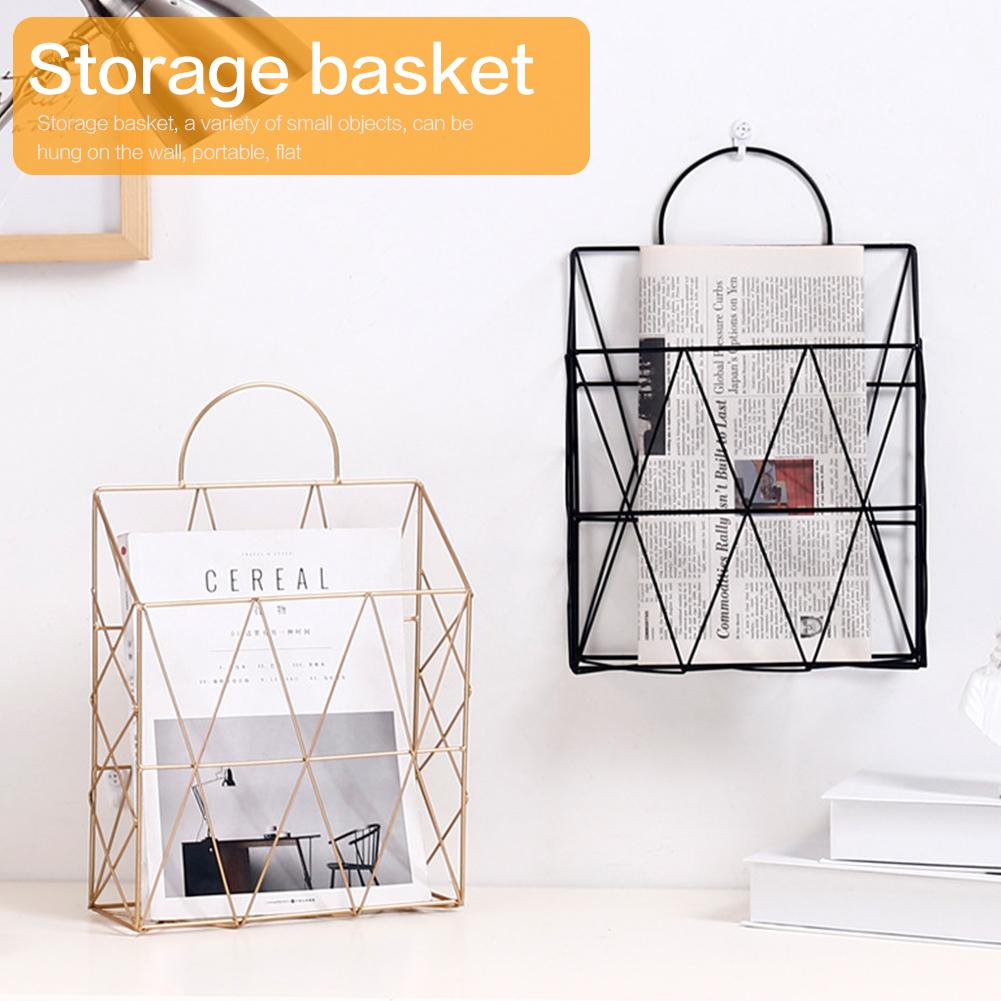 Simple Wrought Iron Tabletop Metal Newspaper And Debris Decoration Storage Basket Hangable Portable Rack Bathroom Hardware Home Improvement