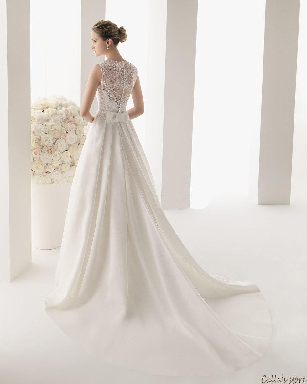 Wedding Dress 2014 Summer new lace bridal dress sleeveless flower princess  zipper V neck vestido de noiva-in Wedding Dresses from Weddings   Events on  ... 403f9cfa7d36