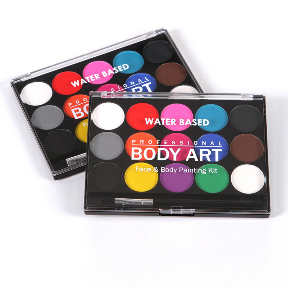 1 PC Water Based Face Body Painting Pressed Powder Paint Palette with brush 15 Colors Non-toxic Makeup Body1 PC Water Based Face Body Painting Pressed Powder Paint Palette with brush 15 Colors Non-toxic Makeup Body