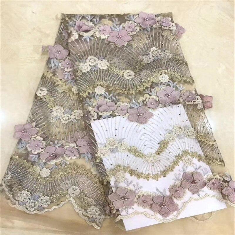 Dernier Style 3d français dentelle tissu avec perles nigérians lacets tissus haute qualité africain Tulle dentelle tissu pour WeddingHX1461-2