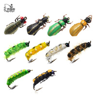 Realistic Fly Fishing Flies Set 16pcs Butterfly Larvae Beetle Dry Flies Insect Lure For PikeTrout Lure