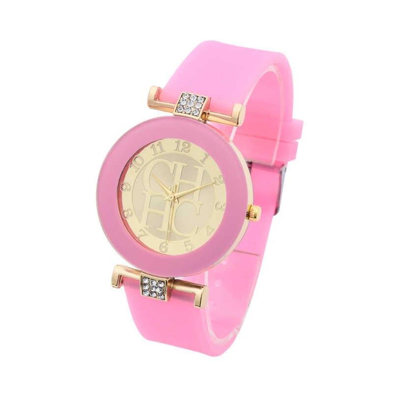 חם חדש אופנה מותג ז 'נבה מקרית קוורץ שעון נשים קריסטל סיליקון שעונים שמלת שעון יד kobiet zegarka מתנה Hodinky