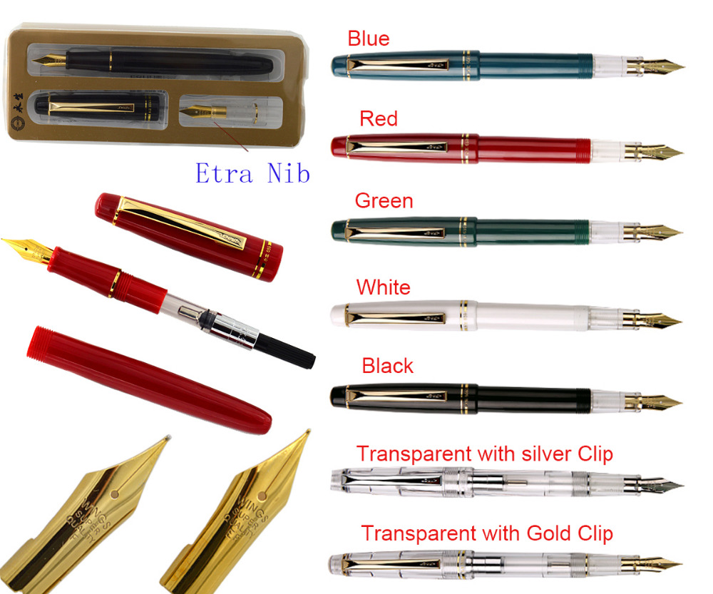 12x Fountain pen set of  F + EF 22K Gold Plated Nib WingSung  659 Signature pen office school stationery  Free Shipping 0 5mm hooded nib fountain pen wingsung 016 office and school writing pens free shipping