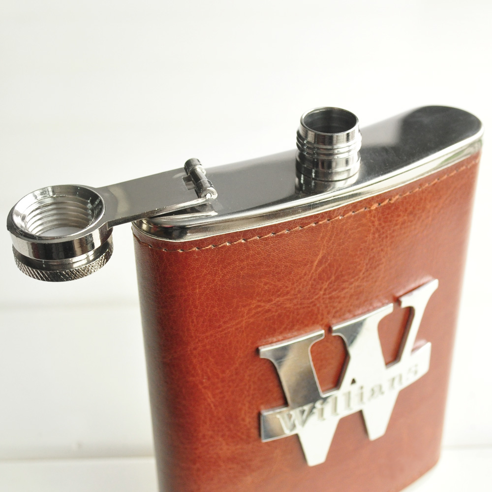 Custom Name Flasks Leather Hip Flask Personalized Flask Stainless Steel Groomsmen Gift Birthday Gift Gift For