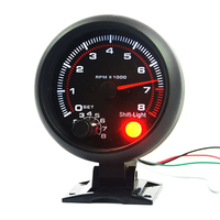 BYGD 3 75 Inch 95mm 12V Black Shell White Backlight Car Tachometer Gauge Warning Speedometer 0