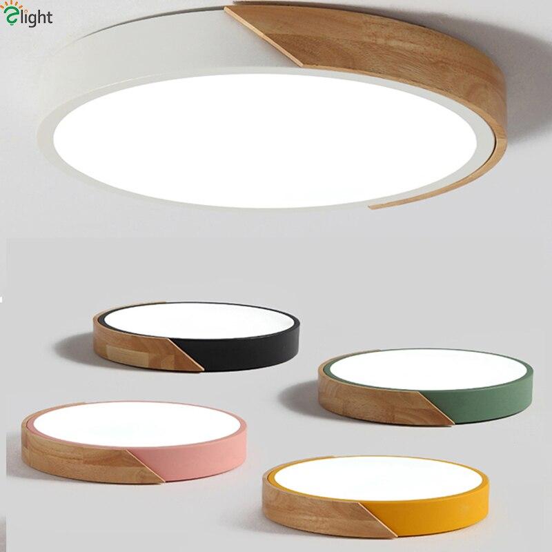 Диммируемая Светодиодная потолочная лампа в скандинавском стиле из дуба, Круглый Многоцветный светодиодный потолочный светильник из сплава для спальни, светодиодный потолочный светильник
