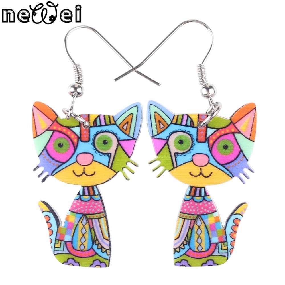 Bonsny DROP Cat Earrings Acrylic Panjang Menjuntai Anting-Anting New Novelty Perhiasan untuk Wanita Gadis Baru Mungil Hewan Dekorasi