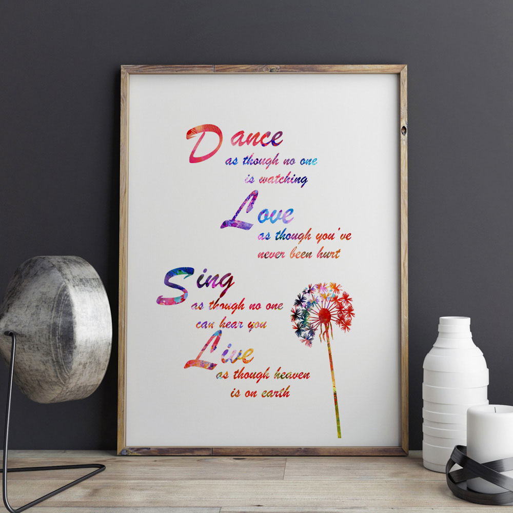 Quotes About Painting Dance Love Sing Live Quotes Painting Watercolor Print Wall