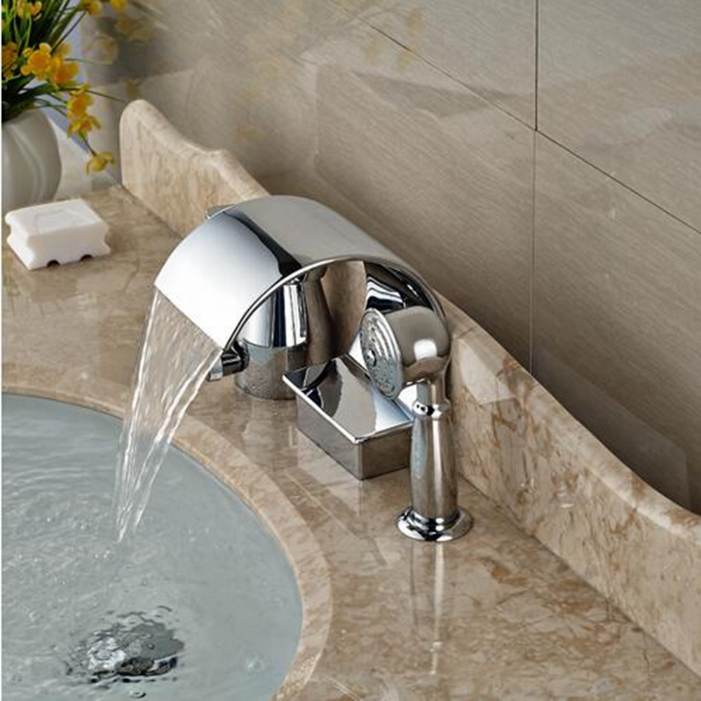 Deck Mount Waterfall Spout Bathroom Tub Faucet 3pcs Bathtub Mixer ...