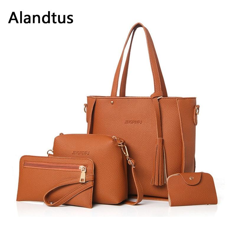 Alandtus Set 4 Pcs Women Bags PU Leather Handbags With Tassel Female Shoulder Bag Casual Clutch Bag Brand Lady Card Holder