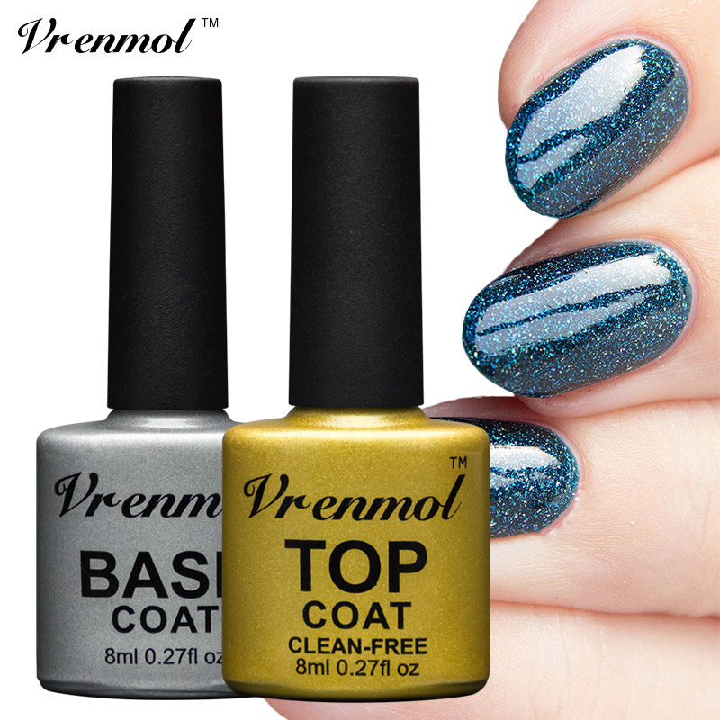 Vrenmol Top Coat + Base Coat No cleaning Soak Off Uv Lamp Gel Nail ...