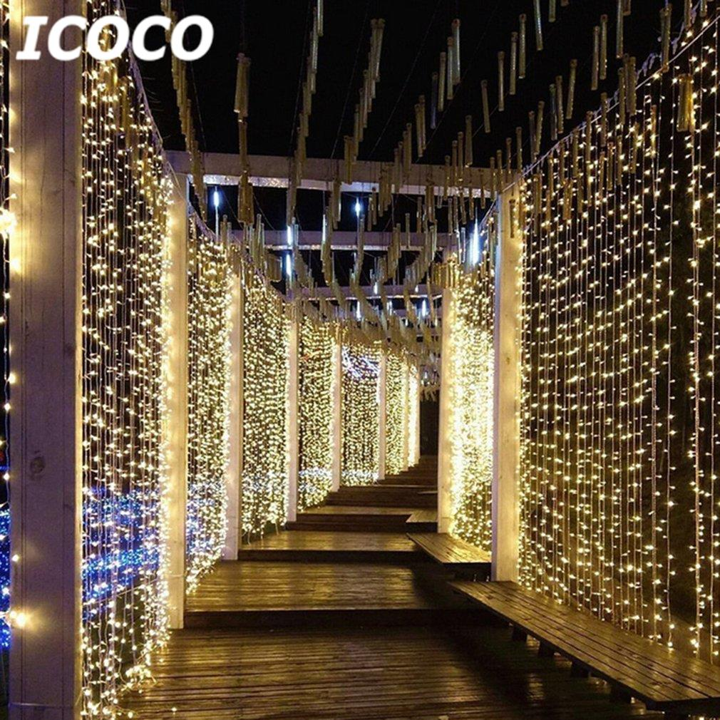 ICOCO 6x3m 600 LEDs Curtain String Light+Remote Controller Fairy Night Light for Party Wedding Festival Waterproof Drop Shipping
