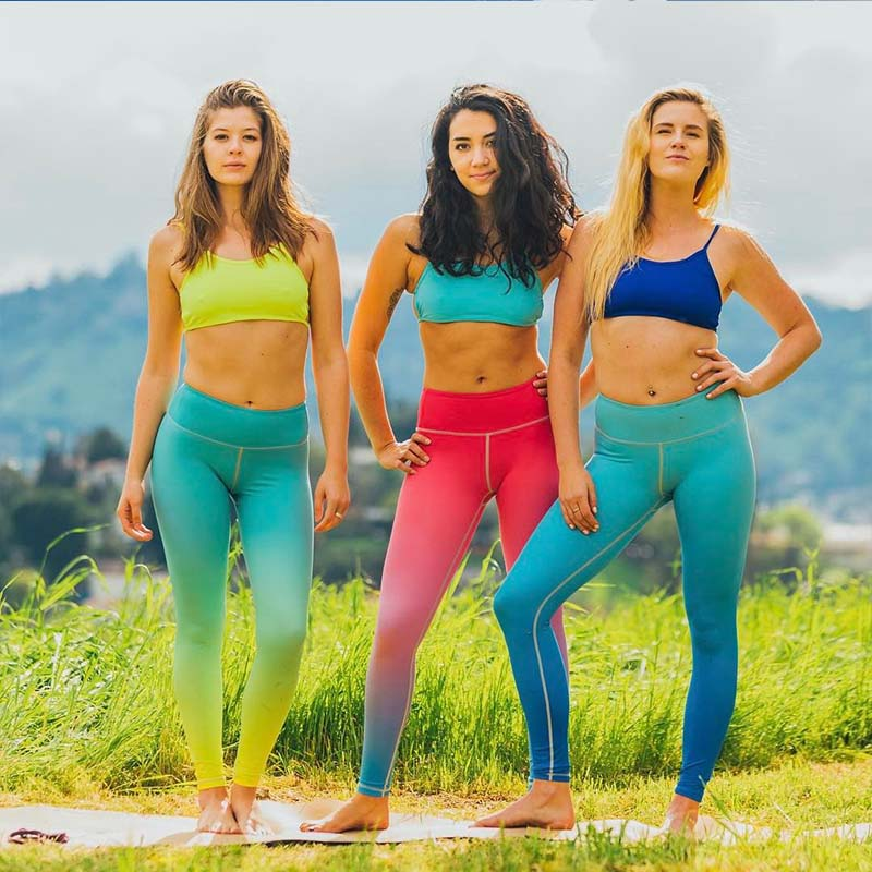 Yesello Gradient Color Leggings Women Flexible Breathable High Waisted Exercise Leggings Slim Elastic Trousers Pants Legins