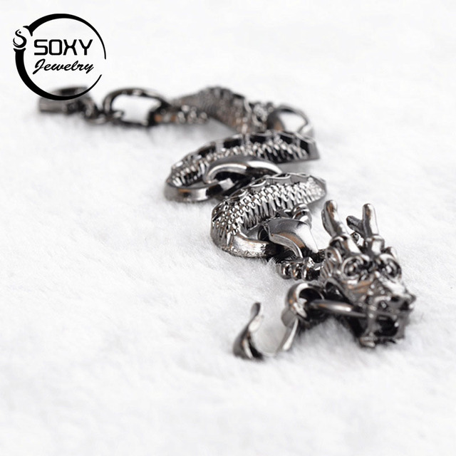 SOXY New Vogue Bracelet TOP Quality Silver Male Vintage Accessories Fashion Style Dragon Bracelet.Men Women Punk Jewelry Bijoux