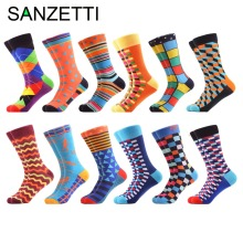 SANZETTI 12 pairs/lot Men's Multi Style Combed Cotton Casual Crew Socks Happy Socks