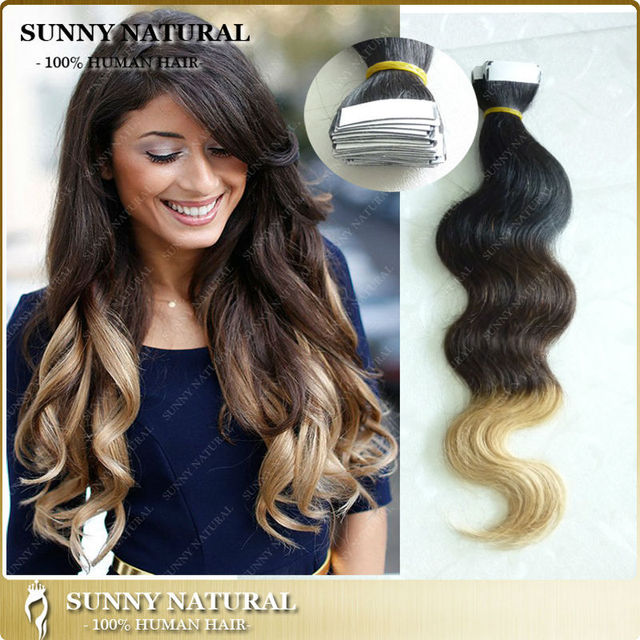 3 Tone Wavy Tape Hair Extensions Body Wave Ombre Brazilian Tape In
