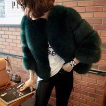 Ptslan Fashion Women Genuine Fox Fur Coats Women Long Winter fur Coats And Jackets luxury female