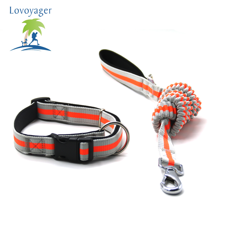 Lovoyager Fluorescent Color Pet Dog Adjustable Collar Leashes Soft Elastic Leashes For Running Jogging Walking