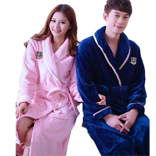 4c06c1375e Flannel Hooded Couples Bathrobes Lovers Sleepwear Home Clothes Sexy Long  nightgown Ladies Dressing Gowns For Women Men Kimono