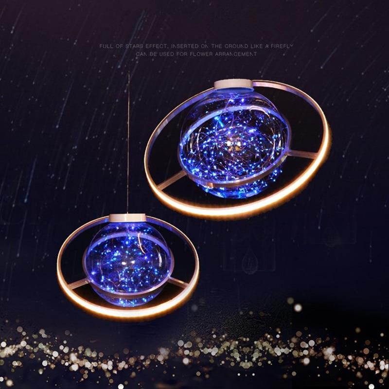 Nueva llegada brillante LED Flash estrella boda escaparate decoración espacio planeta colgante araña de adorno envío gratis - 5