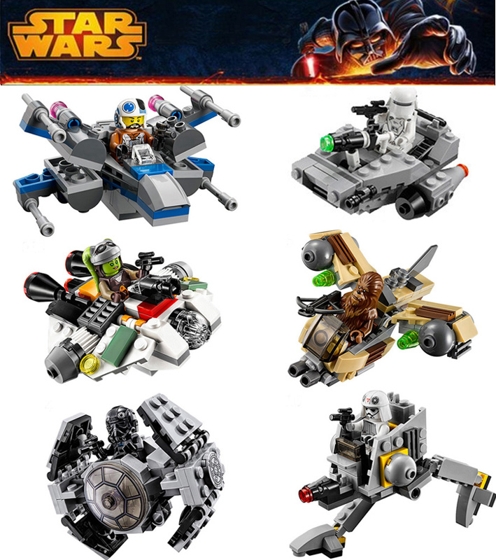 6pcs star wars 78085 lepin spaceship fighter clone wars starwars troopers ships building blocks compatible legoe microfighters