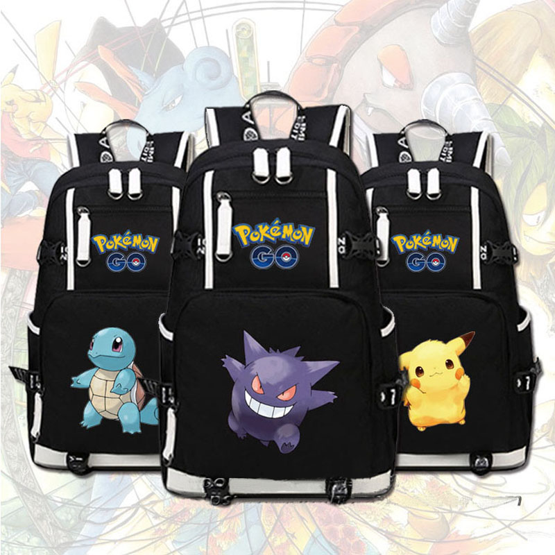 Anime Pokemon Pocket Monster Kawaii Pikachu Gengar Charmander Emoji Women Printing Canvas School Bags Military Backpack pokemon go print purse anime cartoon pikachu wallet pocket monster johnny turtle ibrahimovic zero pen pencil bag leather wallets