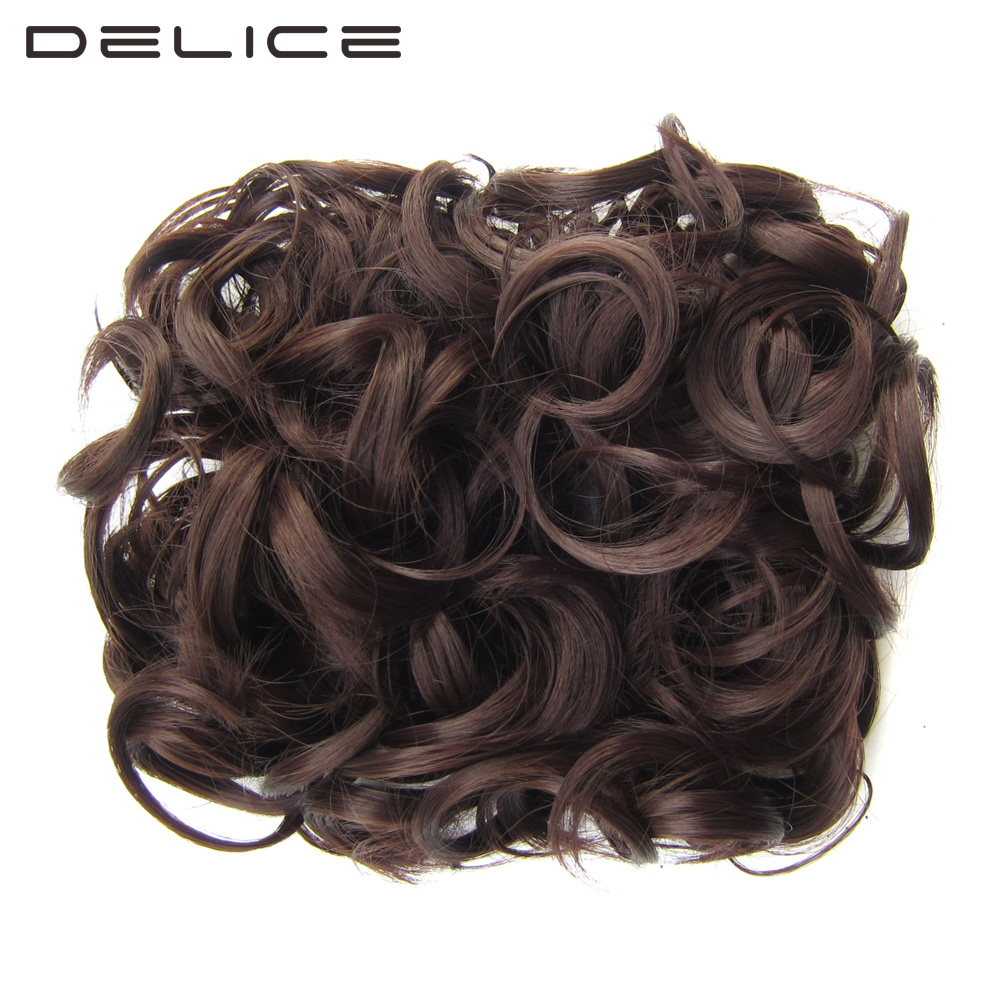 DELICE Women Curly Chignon With Elastic Net Two Plastic Combs Updo Cover Hairpieces Synthetic Hair Buns