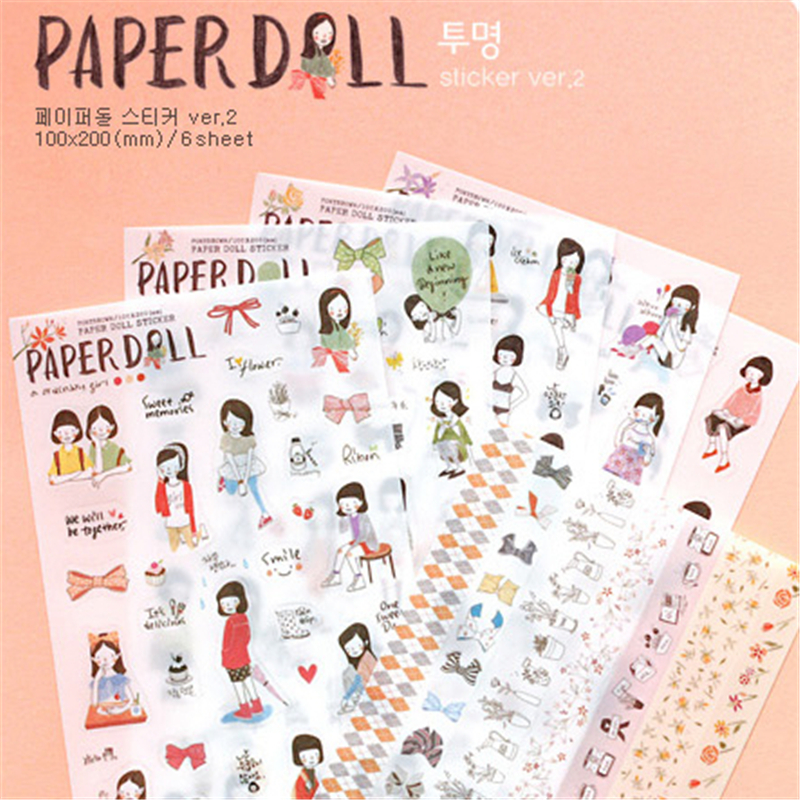 6 Pcs/Set Paper Doll Korean Style Cute Kawaii Sweet Girl Planner Stickers For Notebook Paper Mobile Phone Deoration