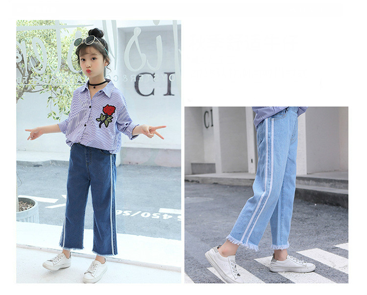 Girls 4-12 Years Spring Autumn Jeans Denim Loose Pants Casual Fashion Raw Edges Side Double Stripes Elastic Waist Jeans Trousers 7
