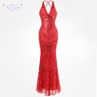 Angel fashions Women's Backless Art Deco Chic Evening Dresses V neck Sequin Party Gown Red 381