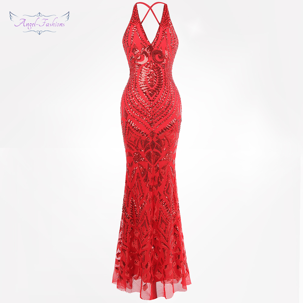 Angel-fashions Women's Backless Art Deco Chic   Evening     Dresses   V neck Sequin Party Gown Red 381
