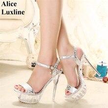 Plus 35-43 EURO GRÖßE Plattform frauen Sandalen High heel schuhe gold silber kristall lady Ultra high heels 14 cm heels