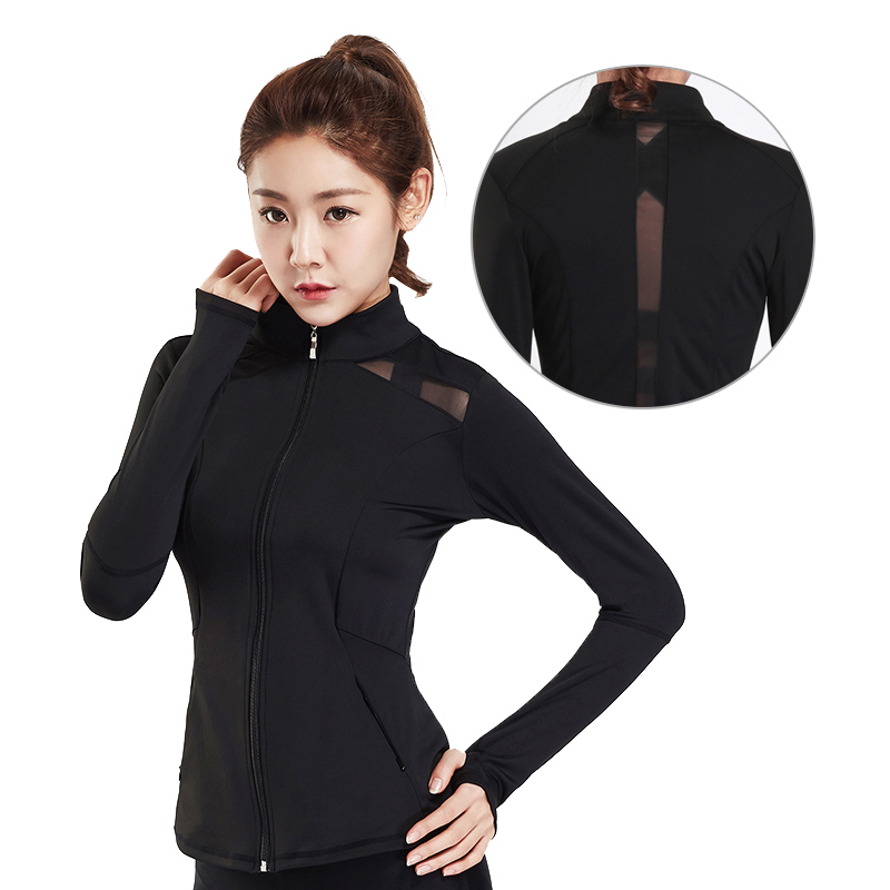 JINXIUSHIRT Womens Workout Jackets Hardlopen jas Zwart Running Jacket Lady Winter Jerseys Windproof Fitness Gym Net Yarn Sexy