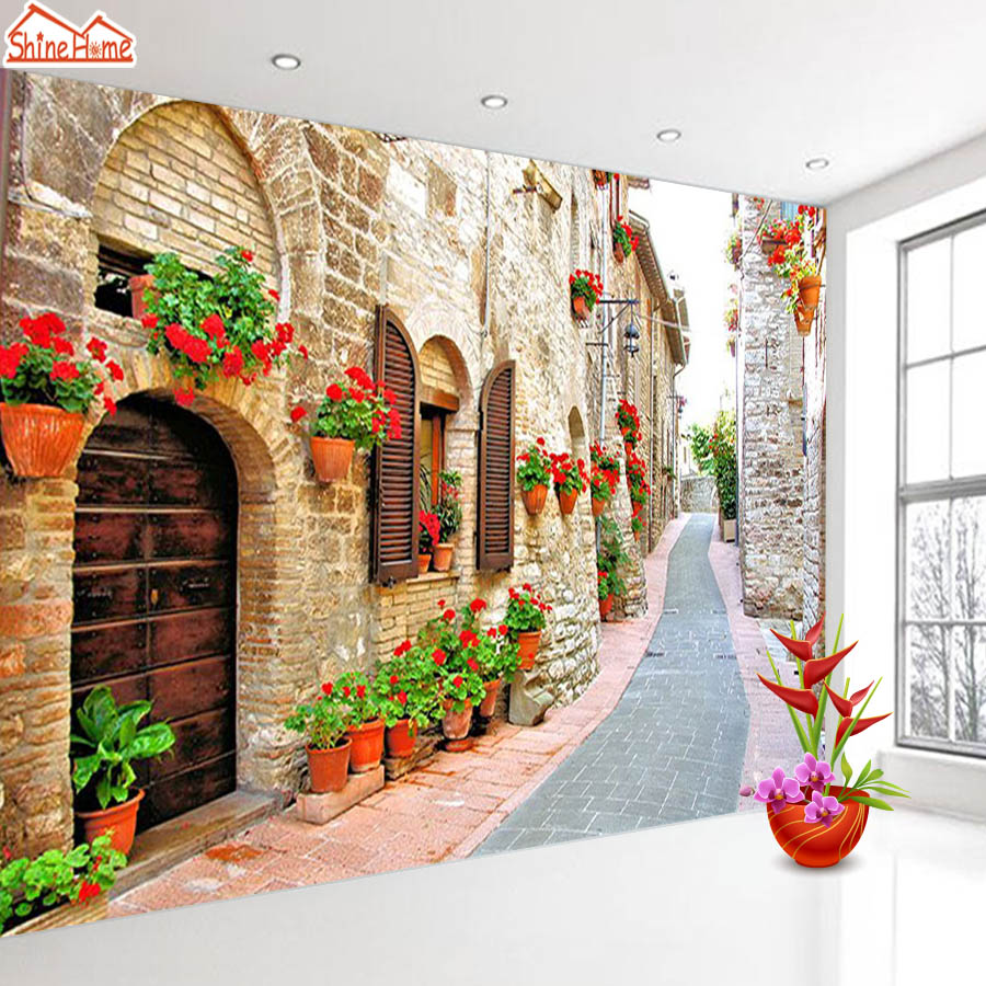 ShineHome-Large Custom Wahable Wallpaper European City Landscape 3d Modern Room Fabric Wall Paper Decorative Murals Desktop shinehome modern custom elephant skyline photo wallpaper 3d stereoscopic decorative wall paper murals boys children kids room