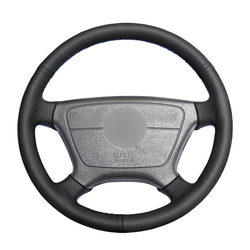 Hand stitched Black PU Artificial Leather Car Steering Wheel Cover for Mercedes Benz E Class W210 E 200 240 280 320 1995 2002-in Steering Covers from Automobiles & Motorcycles
