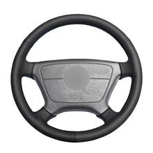 Housse de volant de voiture en cuir artificiel noir cousu à la main pour Mercedes Benz classe E W210 E 200 240 280 320 1995 2002