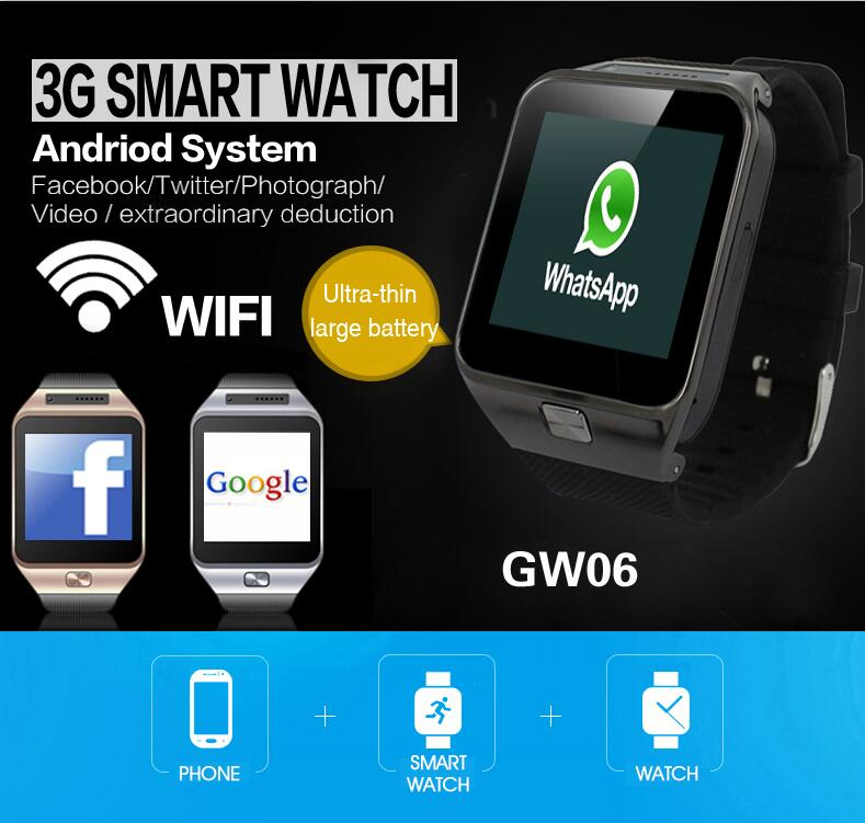 fbf035aad For android ios smartwatch GW06 support GPS+IBS+WIFI+3G+4GB camera ...