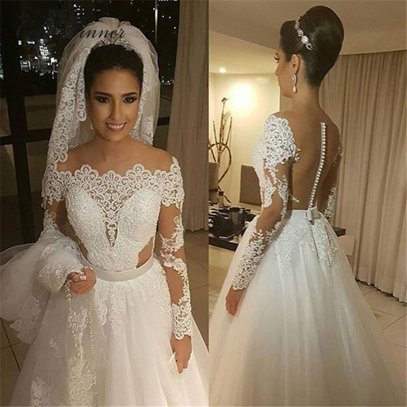 Long Sleeves Embroiery Pearls Beading Wedding Dress Brazil Illusion Back A Line Boat Neck Plus Size Bride Dress W0274