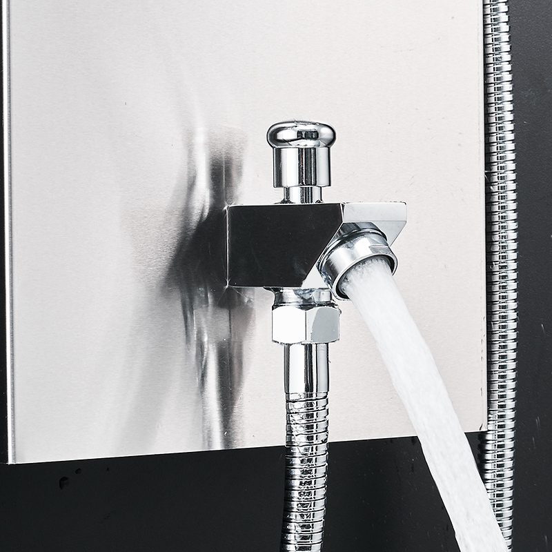 Fapully Bathroom Thermostatic Rain Shower Panel Brushed Nickel Shower Column Tub Hand Shower Wall Panels With Massage LY114 01N in Shower Faucets from Home Improvement