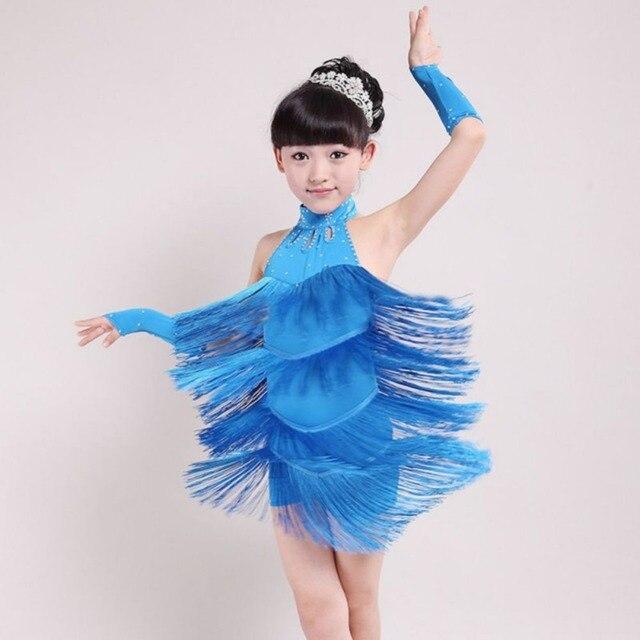 ca55b47cea82 latin dance dress girls Tassel Dress Ballroom Latin Salsa Dance Wear Party  Dance Costume latin ballroom skirts