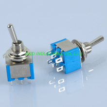5pcs Blue Mini Toggle Switch DPDT ON ON Solder 6Pin 6A for Guitar Amp Audio Tube [vk] glab20b switch snap action dpdt 6a 120v switch