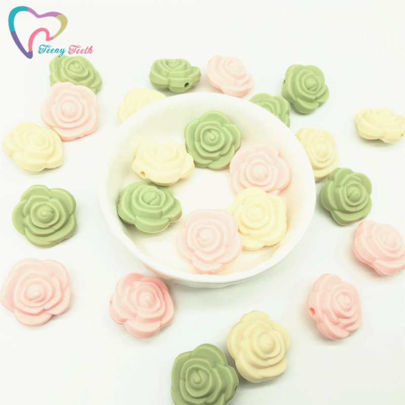 Beads & Jewelry Making Smart Teeny Teeth 9pcs Candy Pink Green Combo Silicone Ring Rattle Diy Rose Flower Beads New Mom Teething Toy Silicone Loose Rose Bead Jewelry & Accessories
