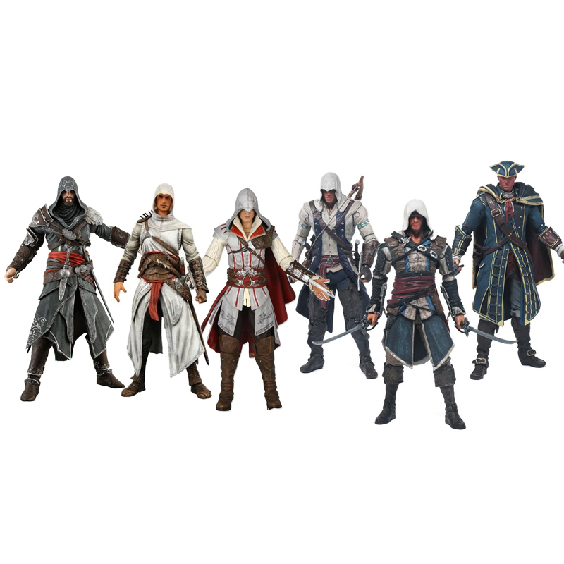 все цены на New 8 Styles NECA Toys Assassins Creed 1-4 Black Flag PVC Action Figures Toys Edward Kenway ETC Collection Model Free Shipping