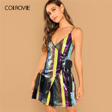 COLROVIE Spaghetti Strap Wrap Knot Fitted Cami Sexy Sequin Dress Women 2019 Summer Sleeveless A Line Club Short Party Dress(China)